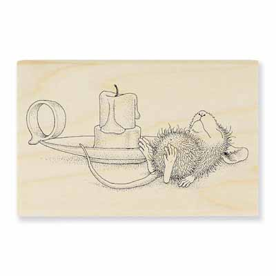 Nap By Candle - House-Mouse Rubber Stamp