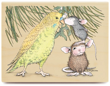 Kissing A Bird 02 - House-Mouse Rubber Stamp