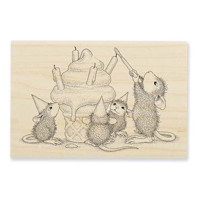BIRTHDAY CONE - House-Mouse Rubber Stamp