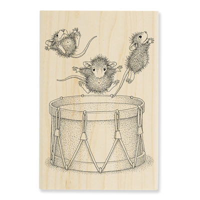 Little Drummers Rubber Stamp - House-Mouse Rubber Stamp