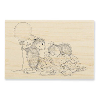 BALLOON SURPRISE - House-Mouse Rubber Stamp