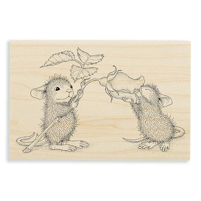 SMELL THE ROSES - House-Mouse Rubber Stamp