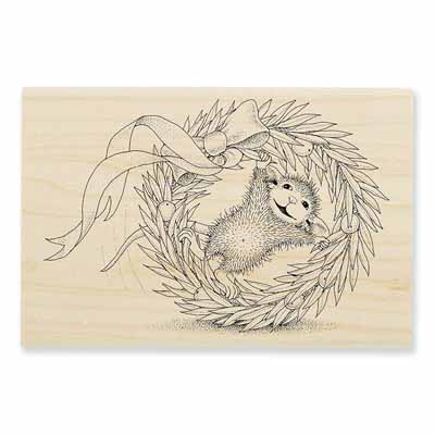 WREATH ROLLING - House-Mouse Rubber Stamp