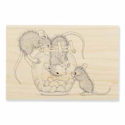 TREAT JAR - House-Mouse Rubber Stamp