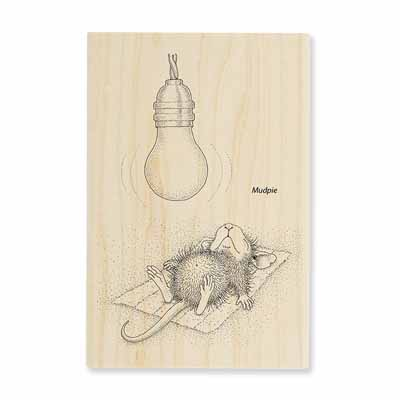 CATCHING RAYS - House-Mouse Rubber Stamp
