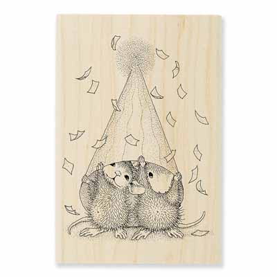 PARTY PEEKING - House-Mouse Rubber Stamp