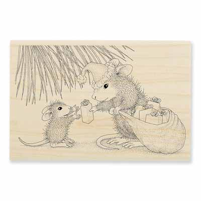Gift Giving - House-Mouse Rubber Stamp