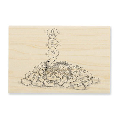 Balancing Hearts - House-Mouse Rubber Stamp