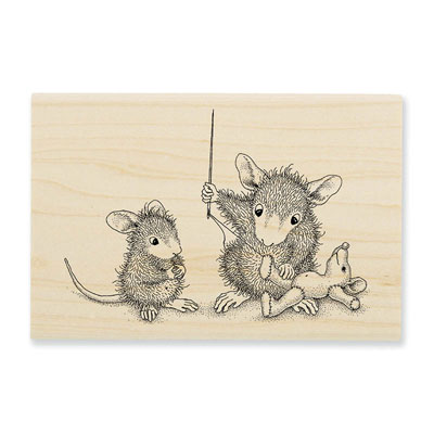 Teddy Mouse Mend - House-Mouse Rubber Stamp