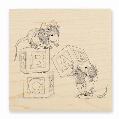 BABY BLOCKS - House-Mouse Rubber Stamp