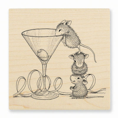 MARTINI MICE - House-Mouse Rubber Stamp