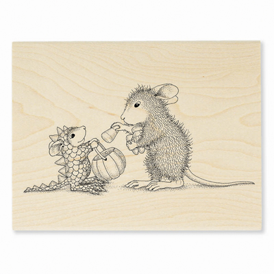 DINO TREATS - House-Mouse Rubber Stamp