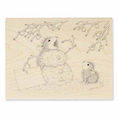 Hungry Snowman - House-Mouse Rubber Stamp