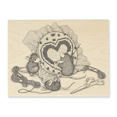Cross Stitch Heart - House-Mouse Rubber Stamp