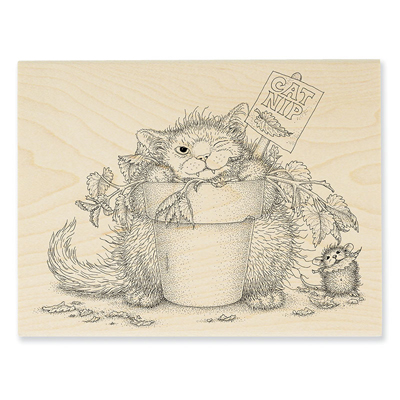Catnip Snack Rubber Stamp - House-Mouse Rubber Stamp