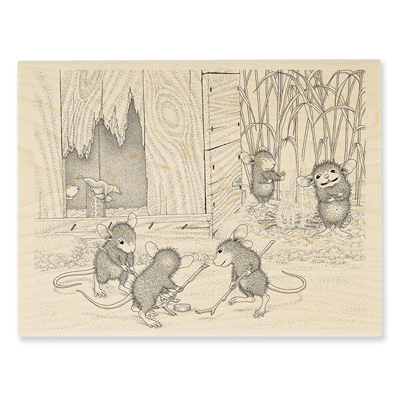 Mice Hockey Rubber Stamp - House-Mouse Rubber Stamp