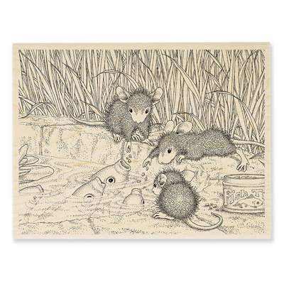 Feeding Koi Rubber Stamp - House-Mouse Rubber Stamp