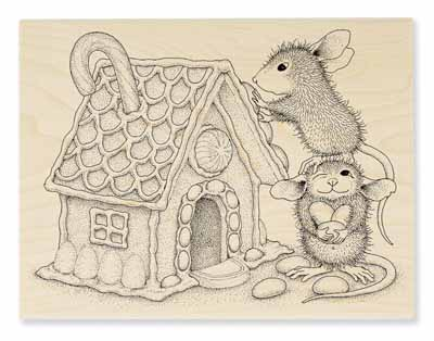 GINGERBREAD HOUSE - House-Mouse Rubber Stamp