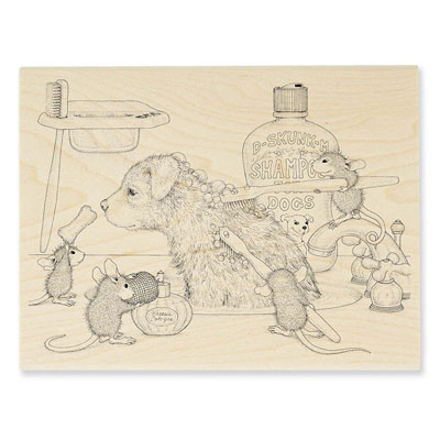 Dog Wash - House-Mouse Rubber Stamp