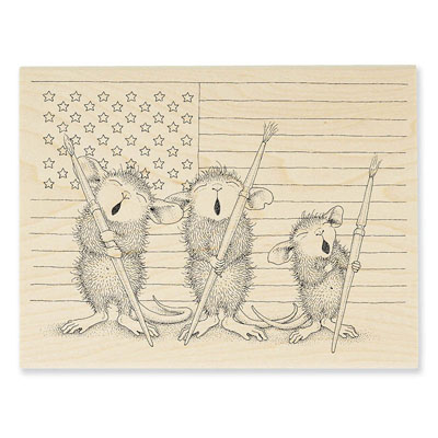 Patriotic Painters - House-Mouse Rubber Stamp