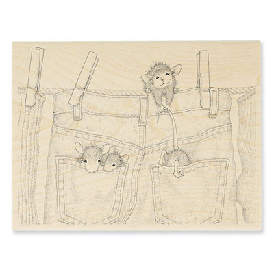 Hanging Jeans - House-Mouse Rubber Stamp