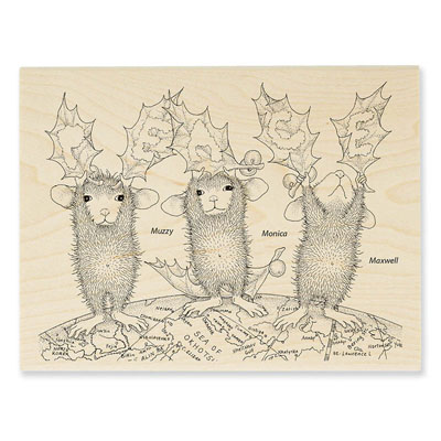PEACE ON EARTH - House-Mouse Rubber Stamp