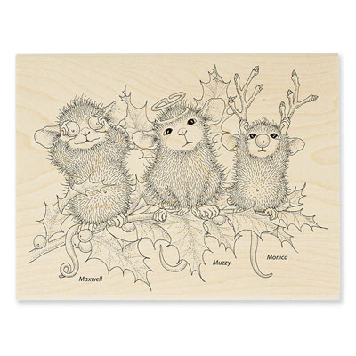 CHRISTMAS CHARACTERS - House-Mouse Rubber Stamp