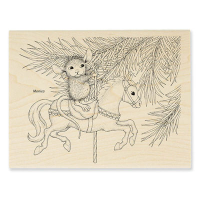CAROUSEL ORNAMENT - House-Mouse Rubber Stamp