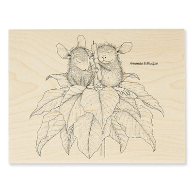 POINSETTIA CANDLE - House-Mouse Rubber Stamp