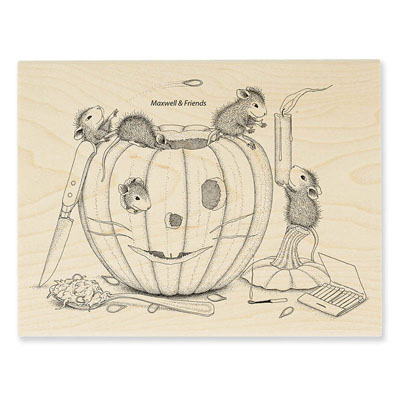 PUMPKIN CARVING - House-Mouse Rubber Stamp