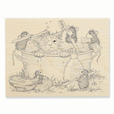 KITTY CLEANING - House-Mouse Rubber Stamp