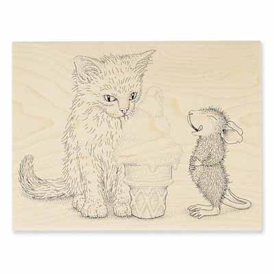 ICE CREAM KITTY - House-Mouse Rubber Stamp