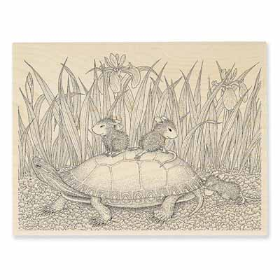 TURTLE RIDE - House-Mouse Rubber Stamp