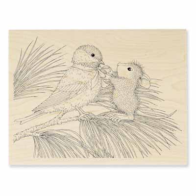 BIRDIE BOW - House-Mouse Rubber Stamp