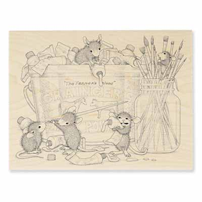 PLAYFUL PAINTERS - House-Mouse Rubber Stamp