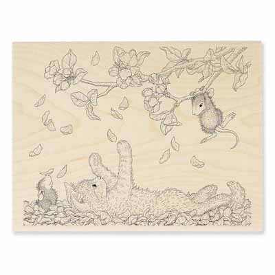 PAWING PETALS - House-Mouse Rubber Stamp