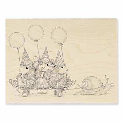SLOW RIDERS - House-Mouse Rubber Stamp