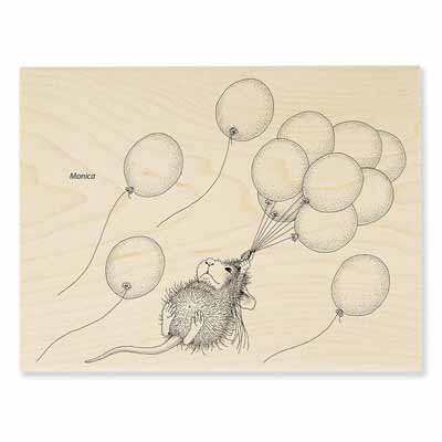 HELIUM RIDE - House-Mouse Rubber Stamp