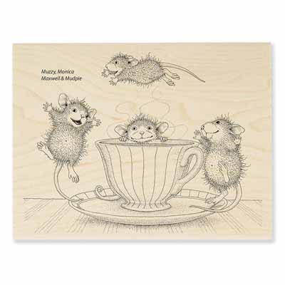 COFFEE CRAZY - House-Mouse Rubber Stamp