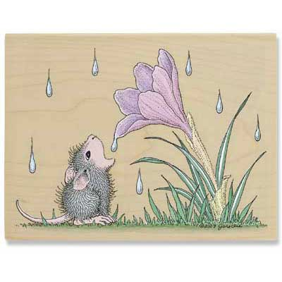 Flower Drop - House-Mouse Rubber Stamp