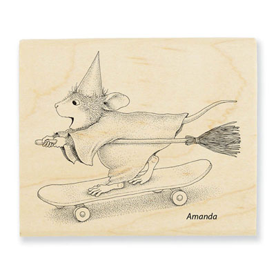 SKATEBOARD WITCH - House-Mouse Rubber Stamp