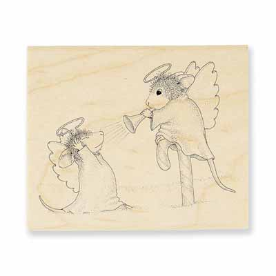 Trumpet Blast - House-Mouse Rubber Stamp
