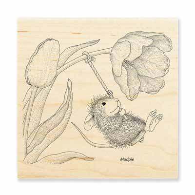 SPRING SWING - House-Mouse Rubber Stamp